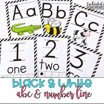 Black and White Themed Alphabet and Number Line Classroom Decor