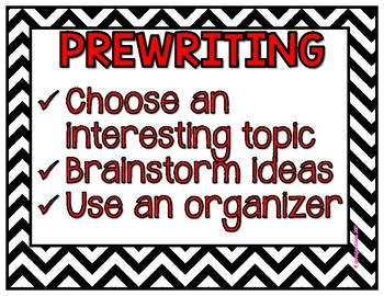 Black and White Themed Writing Process Posters Aligned to 6 Traits