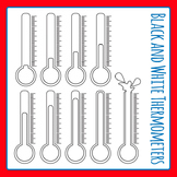 Black and White Thermometers Commercial Use Clip Art Set