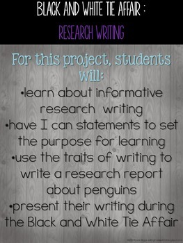 Black and White Tie Affair- a Penguin Informational Research Writing Event
