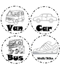 Black and White Transportation Labels