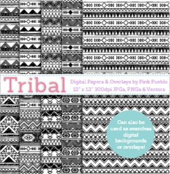 Black and White Tribal Digital Papers Background Patterns or Photoshop Overlay