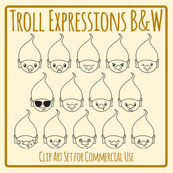Black and White Troll Expressions / Emotions / Emoji Clip Art Commercial Use