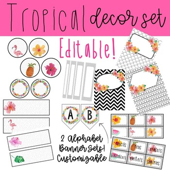 Black and White + Tropical Decor Bundle