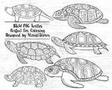 Black and White Turtle Clipart - Black Line Turtles Coloring Book Illustrations