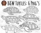 Black and White Turtle Clipart - Black Line Turtles Colori