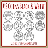Black and White US Coins / Money Clip Art Set for Commercial Use