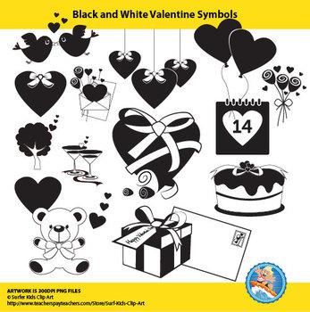 Freebie : Black and White Valentine Set