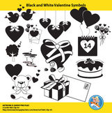 Freebie : Black and White Valentine Set