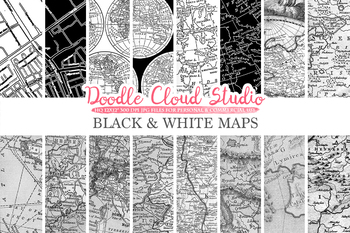 Black and White Vintage Maps digital paper, Old Maps, Modern Maps