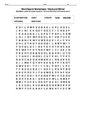 Black and White Vocabulary Week 1 Word Search