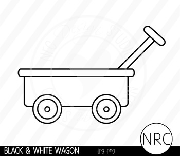 Black and White Wagon Clip Art- Commercial Use Clipart