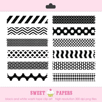 Black and White Washi Tape Digital Clip Art Set - by Sweet Papers