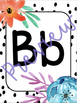 Black and White Watercolor Floral Alphabet Line