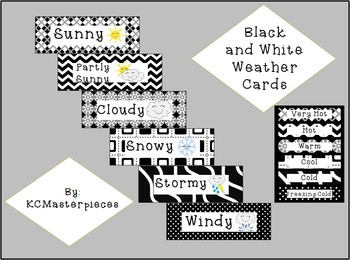 Black and White Weather Cards