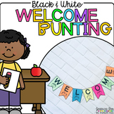 Black and White Welcome Bunting