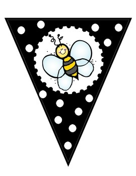 Black and White Welcome to __ Grade Banner - Bee Theme