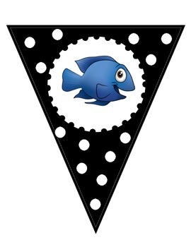 Black and White Welcome to __ Grade Banner - Fish Theme