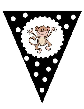 Black and White Welcome to __ Grade Banner - Monkey Theme