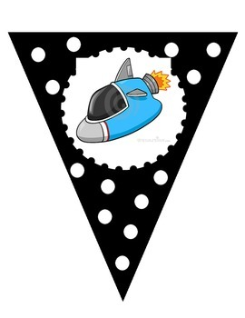 Black and White Welcome to __ Grade Banner - Space Ship Theme