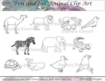 Black and White Wildlife/Ocean Life Clip Art