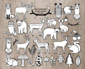 Black and White Woodland Clipart Bundle - 30 Hand Drawn Fo