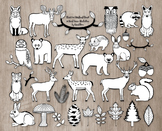 Black and White Woodland Clipart Bundle - 30 Hand Drawn Forest Animal Outlines