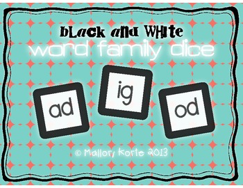 Black and White Word Family Dice