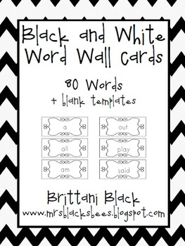 Black and White~ Word Wall Cards