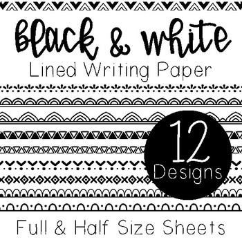 Black and White Writing Paper
