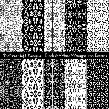 Black and White Wrought Iron Patterns