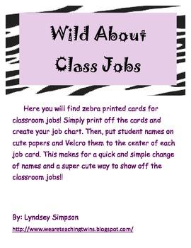 Black and White Zebra Classroom Jobs