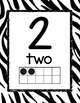 Number Posters 0-20  Black and White Zebra