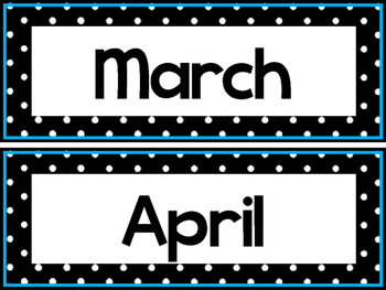 Black and White and Blue 12 Months of the Year Labels.