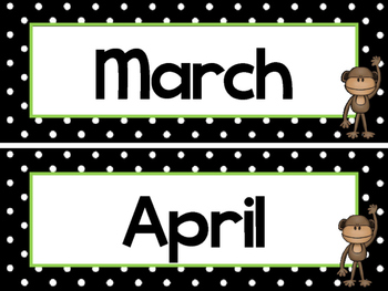 Black and White and Green Monkeys 12 Months of the Year Labels.
