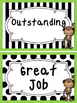 Black and White and Green Monkeys themed Behavior Clip Chart-7 Cards