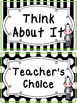 Black and White and Green Zebra themed Behavior Clip Chart-7 Cards