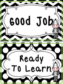 Black and White and Green Zebra themed Behavior Clip Chart