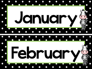 Black and White and Green Zebras 12 Months of the Year Labels.