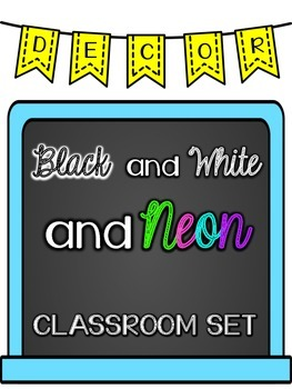Black and White and Neon Room Theme with Editable Pages