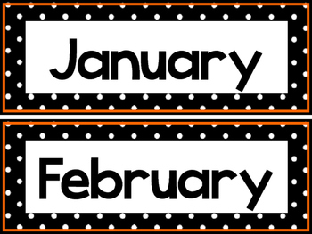 Black and White and Orange 12 Months of the Year Labels.