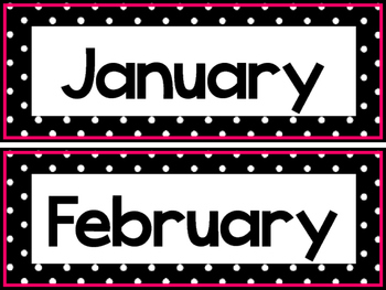Black and White and Pink 12 Months of the Year Labels.