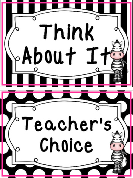 Black and White and Pink Zebra themed Behavior Clip Chart-7 Cards