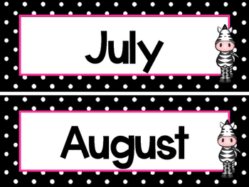 Black and White and Pink Zebras 12 Months of the Year Labels.