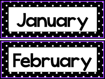Black and White and Purple 12 Months of the Year Labels.
