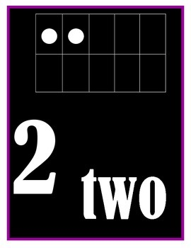 Black and White ten frame numbers with purple and green borders
