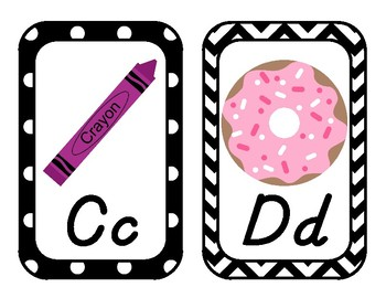 Black and White with Brights Chevron and Dot Alphabet - D'Nealian