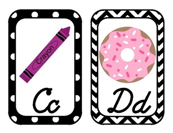 Black and White with Brights Chevron and Dots Alphabet - cursive