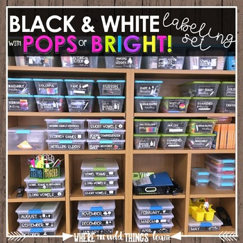 Black and White with POPS of Bright Organizing Labels