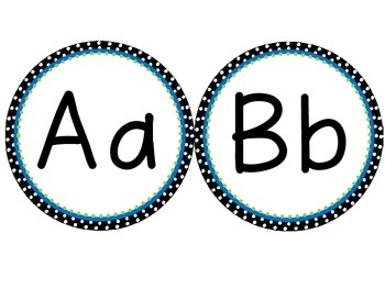 Black and White (with blue and green accents) Polka Dot Word Wall Headers